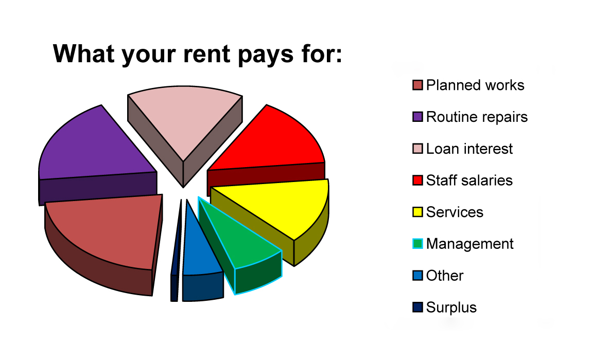 Pie chart of what rent pays for