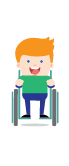 Cartoon drawing of man in wheelchair